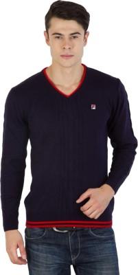Fila Self Design V-neck Sports Men's Dark Blue, Red Sweater