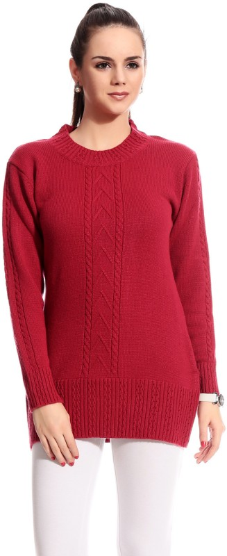 TAB91 Self Design Round Neck Casual Women Red Sweater