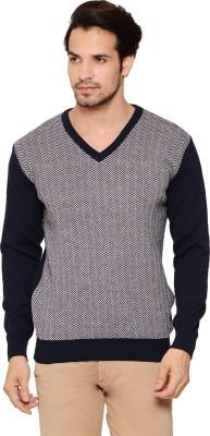 Northern Lights Geometric Print V-neck Men's Grey, Blue Sweater
