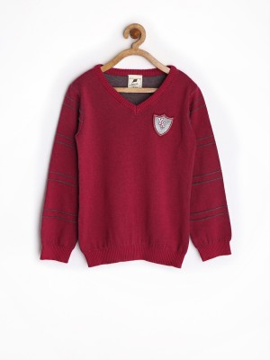Yellow Kite Solid V-neck Casual Boy's Maroon Sweater