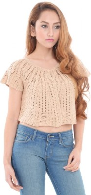 Estance Solid Round Neck Casual Women's Beige Sweater