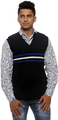 Sports 52 Wear Striped V-neck Casual Men's Reversible Dark Blue Sweater