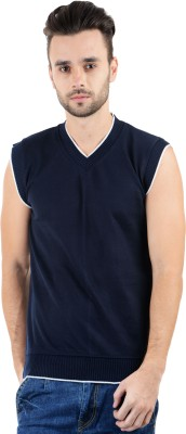 Gdivine Solid V-neck Casual Men's Dark Blue Sweater