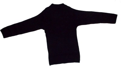 The Modern Knitting Shop Self Design Round Neck Casual Girl's Black Sweater