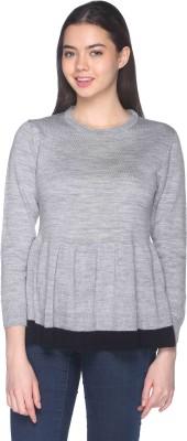 CLUB YORK Self Design Round Neck Casual Women Grey Sweater at flipkart