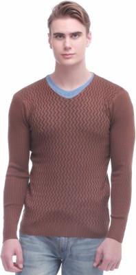 Jogur Self Design V-neck Men's Brown Sweater