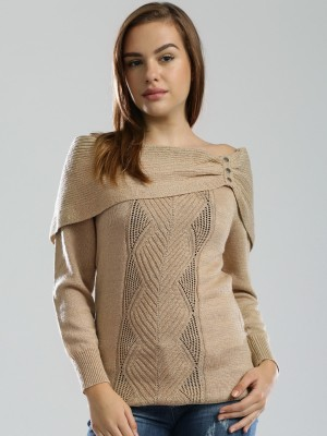 D Muse by DressBerry Self Design Boat Neck Casual Women's Beige Sweater