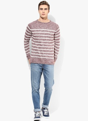 Jack & Jones Solid Round Neck Men's Red Sweater