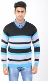 Globate Striped V-neck Casual Men Multic...