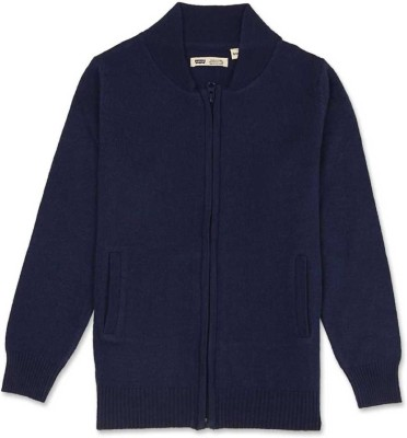 Levi's Solid Turtle Neck Casual Girl's Dark Blue Sweater