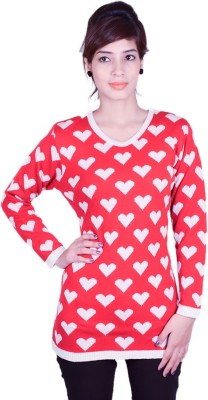 Cee-For Floral Print V-neck Casual Women's Red Sweater