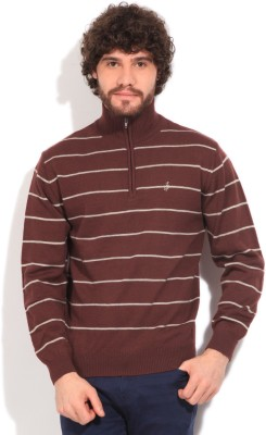 John Players Striped Turtle Neck Casual Men's White, Maroon Sweater