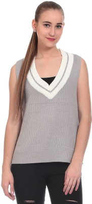 Claude 9 Solid V-neck Casual Women's Grey Sweater