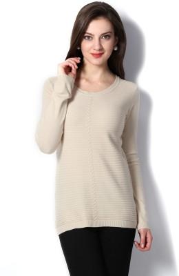 Van Heusen Striped Round Neck Women's Beige Sweater