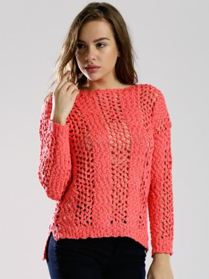 Dressberry Self Design Round Neck Casual Women's Pink Sweater