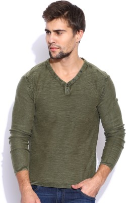 HRX by Hrithik Roshan Solid V-neck Casual Men's Green Sweater