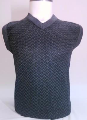 ADK Geometric Print V-neck Casual Men's Multicolor Sweater