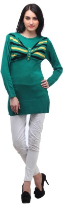 Stylistry Striped Round Neck Casual Women's Green Sweater