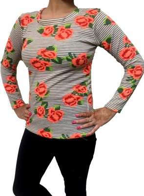 Big Pout Floral Print Round Neck Casual Women's Pink Sweater