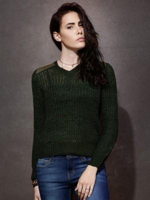 Roadster Solid V-neck Casual Women Dark Green Sweater at flipkart