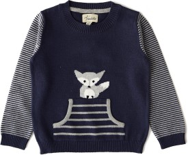 Weedots Solid Round Neck Casual Boys Dark Blue Sweater