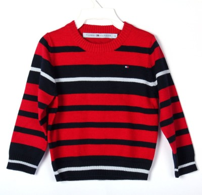 BabyBucket Striped Round Neck Baby Boy's Red Sweater