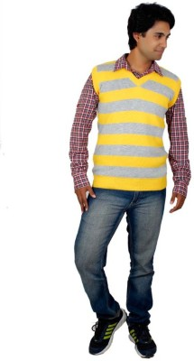 Alpine Enterprises Striped V-neck Men's Yellow, Grey Sweater