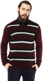 COBB Striped V-neck Casual Men Maroon Sw...