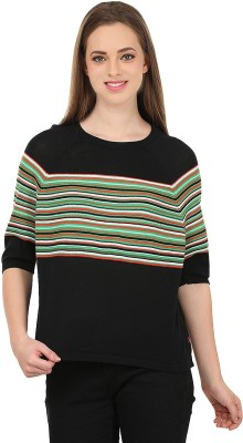 United Colors of Benetton Striped Round Neck Casual Women's Black, Green Sweater