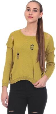Saiints Solid Scoop Neck Casual Women's Green Sweater