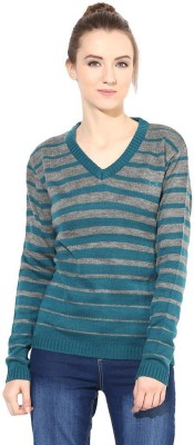 The Vanca Striped V-neck Casual Women's Green Sweater
