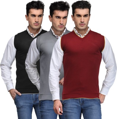 TSX Solid V-neck Casual, Party, Formal Men's Black, Grey, Maroon Sweater