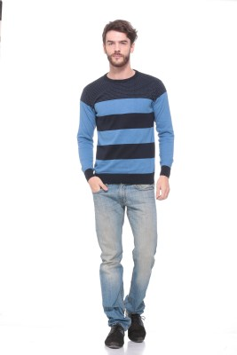 Pro Riders Solid Round Neck Casual Men's Blue Sweater