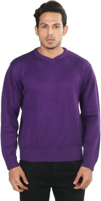 Provogue Solid V-neck Casual Men's Purple Sweater