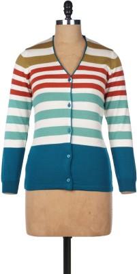 Pazaro Striped V-neck Casual Women's Blue Sweater