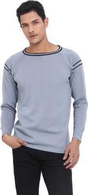 Northern Lights Solid Round Neck Casual Men's Black, Grey Sweater