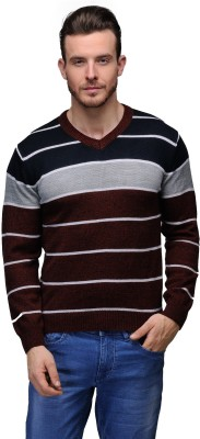 Tailor Craft Striped V-neck Casual Men's Brown Sweater