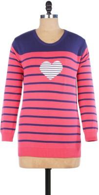 Pazaro Striped Round Neck Casual Women's Pink Sweater