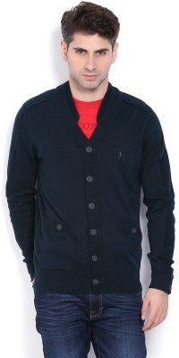 883 Police Self Design Round Neck Casual Men's Blue Sweater