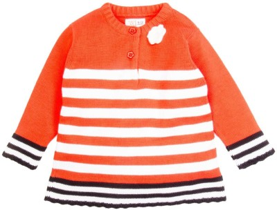 Mom & Me Striped Round Neck Casual Girl's Orange Sweater