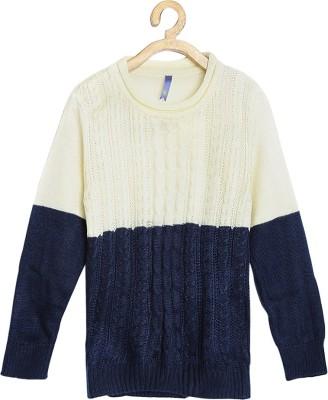Yk Self Design Round Neck Casual Girls White, Dark Blue Sweater