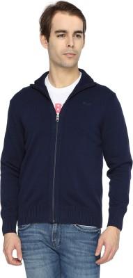 Wrangler Solid Turtle Neck Casual Men's Dark Blue Sweater