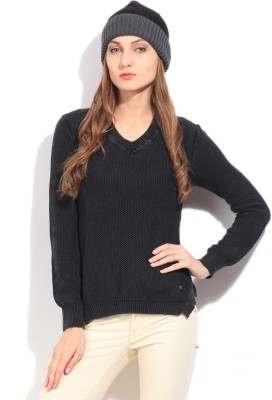 Arrow Self Design V-neck Casual Women's Black Sweater