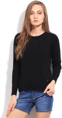 Arrow Self Design Round Neck Casual Women's Black Sweater