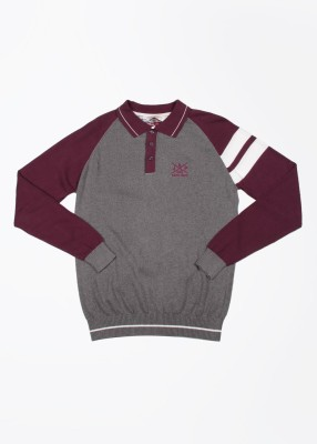 John Players Self Design Casual Men's White, Grey, Purple Sweater
