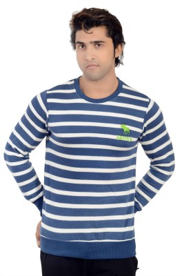 Parv Collections Striped Round Neck Casual Men's Blue Sweater