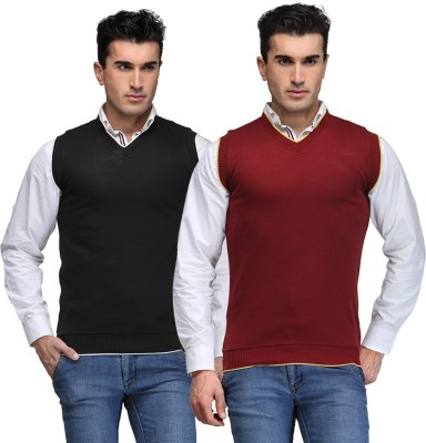 TSX Solid V-neck Casual, Party, Formal Men's Black, Maroon Sweater