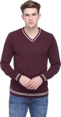 CLUB YORK Solid V-neck Casual Men's Purple Sweater