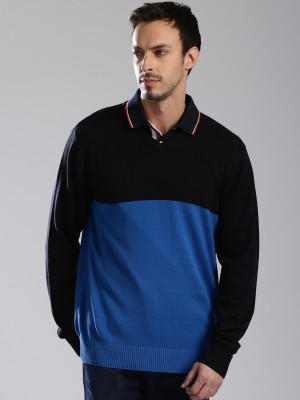 HRX by Hrithik Roshan Solid V-neck Casual Men Blue Sweater