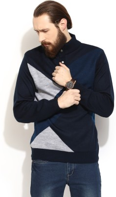 COBB Solid Round Neck Casual Men's Dark Blue Sweater